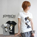 A hard little Minnie mouse print Ang. Leopard skirt ♪ the JOYRICH×Disney popular オフィシャルコラボ T shirt / Disney / Leopard / animal print /MinnieMouse/DIS-F1160TE ◆ JOY RICH ( Mickey Mouse No1 ) :Leopard Minnie Tee