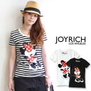 Minnie mouse print Ribbon with a blindfold full of uplifting ♪ JOYRICH×Disney popular オフィシャルコラボ T shirt punk / Disney /DIS-F1155TE ◆ JOY RICH ( Mickey Mouse No1 ) :Punk Minnie Tee