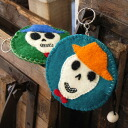 A stitch and a ball charm with full of a feeling of round shape coin case ♪ handcraft with the emblem of a colorful, surreal skeleton are ◎ / felt / back aboriginality / wallet / multi-case coin purse / wallet / empty Bella Perth / kids ◆ scull applique