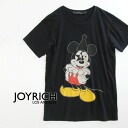 Extreme popularity official collaboration T-shirt / disney /MickeyMouse/DIS-U1215TE ◆ JOY RICH (Joey Rich) of rare mickey mouse print ♪ JOYRICH X Disney which changed its clothes in a pierrot fashion: Pierrot Mickey Tee