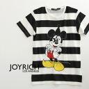 Popular オフィシャルコラボ t-shirts printed with border pattern at ピエロファッション in rare Mickey Mouse changed into JOYRICH×Disney / Disney /MickeyMouse/DIS-U1216TE ◆ JOY RICH ( Mickey Mouse No1 ) :Pierrot Mickey Border Tee