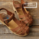 The T-strap sandals which a tiptoe was knit into like mesh. Natural wood and orthodox school sandals / shoes / opera pump / Lady's ◆ MOHEDA TOFFELN (モヘダトフェール) using the real leather which are usable through one year: Leather mesh Wood sabot sandals [1130