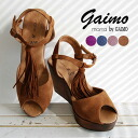 A delicate ankle strap wedge sole sandal. With the storm platform suede / leather leather /M-ETICA-A ◆ marta by GAIMO ( マルタバイガイモ ): スエードタッセルフリンジウッドウェッジソール sandals