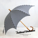 The gingham checked pattern that is a girly in the form which greatly performed a round. /UMBRELLA/ womens / parasol / parasol ◆ Traditional Weatherwear (traditional weather wear) where the handle made of bamboo materials has sense of quality: Umbrella [