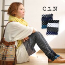 Lively トレンカスパッツ of the dot pattern patchwork which a four-colored waterdrop pattern can enjoy. Cut-and-sew material ♪◆ C.L.N (sea L N) of the thickness with comfortable elasticity, security: クレイジードットトレンカレギンス