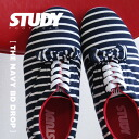 Simple, light Oxford sneakers plus ribbons, etc. based on border pattern sneaker / ladies / shoes / stripes / ◆ STUDY ( study ): NAVY BD DROP BOW