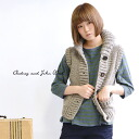 Hair 100% of moderate volume no sleeve outer /fs3gm ◆ Audrey and John Wad (オードリーアンドジョンワッド) knit roughly full of a good point and warmth of the comfort only by the knitting by hand: Peruvian wool knit shawl collar vest
