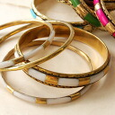 Code to suit changing, four-gold set of bangles. So every one is narrowed and slender, you should weight! / Bangles / Bracelets / ethnic ◆ Aztecs 4-Bangle set