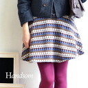 Trapezoidal shape, sweet wide hem knit even come true. Where cuteness is fair Isle pattern knit in miniskirt / closure and lining w / knee length ◆ ☆ events during ☆ Handsom (handsome) FAIR ISLE KNIT MINI