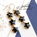 Stars glittering waveringly shakes while attended our three year accessories! Perfect for cutting beads black because Japanese accent!, delicate parts of gold color also points ◆ Zootie ( ズーティー ): トリプルスターライン hook earrings