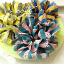 Ruffles sweet design tailored casual color scheme with a sharp border pattern ボリューミーシュシュ ♪ delicate perforated well carved hair accessories ◆ Zootie ( ズーティー ): スカラップカットワークシュシュ [border]