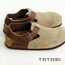 Slip-ons characterized by upper designed in suede cloth. 003 flattie / shoes / Lady's / suede real leather / ビルケンシュトック company /BM893 ◆ TATAMI (タタミ) Durban where snap button opening and shutting is possible as for the strap