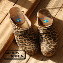 Wearing Leopard print well bright to slip-on sandals. Sweden artisan natural handmade clogs and denim / ladies shoes and ladies suede ◆ MOHEDA TOFFELN ( モヘダトフェール ): レオパードウッドサボ Sandals [11200]