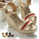 "Tailored with the jute sole and instep-strap all 'cute too""adult only"" ""wedge sole sandal. Carapace color tape is a good casual sense ◎ / women's / bottom ◆ Zootie ( ズーティー ): bi-color line braid ジュートウェッジソール sandals"