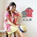 A lively print design that feels summer stylish short sleeve shirt. Lovely because it is masculine silhouettes and sizes of ◎ / women's / Hawaiian shirt / Aloha ◆ C.L.N( シーエルエヌ ): ダンガリーカラーアロハ print shirt