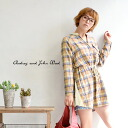 Brushed Plaid long sleeve shirt. Allows browsing in the waist drawcord. Elegantly understated switching and satin: ◆ Audrey and John Wad ( オードリーアンドジョンワッド ): v ネックドローストリングチェックシャツチュニック