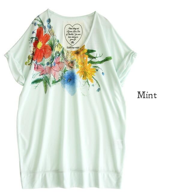好像被用铅笔画了的客气的花纹被印刷了的束腰长上衣长t恤.