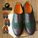 Low-frequency cut shoes of the leather X suede with a feeling of vintage. The ◎ / opera pump / loafer / cowhide / suede cloth ◆ Palanco (parang co) wing tip by color race up shoes which feature sole with a full-scale medallion tip and feeling of weight