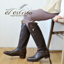 It is thin with a foot and is beautiful. It is ろ rubber / jockey boots / cow leather ◆ El Estribo (est revolving) back zip leather long boots after long boots / Lady's / opera pump / import / with back zipper using the shiny good-quality cowhide