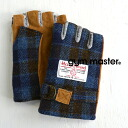 "British high-quality tweed cloth ""HarrisTweed"" is used by the fingerless gloves which are convenient for smartphone operation! & heat retention ◎ / pigskin / pig leather / ventage ◆ gym master (gym master) functional in different fabrics MI"