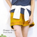 The small waste flowers which dance in cloth such as the suede cloth! Easy shortstop length underwear / Lady's / straight / waist rubber / half underwear ◆☆ sale ☆ Tirolean belt flower fake suede short pants with a built-in waist belt which floral design