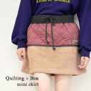 The different fabrics change skirt of the quilting X boa. In the OUTDOOR scene of course in a good active atmosphere town in the fall and winter ◎ / mini-length / waist rubber /CWC-CA120 ◆ TITICACA (チチカカ): Quilting X boa miniskirt