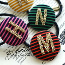 An initial item of the extreme popularity! Hair accessories / hair pony / horizontal stripes / round shape / hair ornament / hairpin / summary hair / hairpin /fs3gm ◆ Zootie (zoo tea) which put a Romaji on the round base of the stripe pattern with beads: