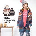 フェザーヤーン plus accent pattern, レディースニットアウター. Pattern design casual, ノルディック, hooded parka and long-sleeved ◆ KRIFF MAYER ( cliffmeyer ): ジグザグフェザーヤーントグルボタン knit coat