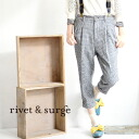 Tapered pants of the plover checked pattern that is mannish during popular continuation. Feeling of cloth でほっこり with full of raised feelings such as the compression wool is full of feelings in the fall and winter! / pencil underwear ◆ rivet and surge (rivet and serge): Cross-woven lattice cropped pants with the suspender