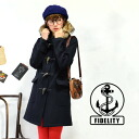 The long length duffel coat which soft and fluffy fur displays food. / medium / midi length ◆ FIDELITY (fidelity) 24oz LONG DUFFLE COAT made in basic lady's outer / thick / import / U.S.A. using 24 ounces of melton cloth