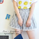 I add a sweet race to the gingham checked pattern that is a monotone! The tops inn is ◆ race lei yard gingham check culottes underwear with the short pants culotte skirt Lady's mini length shortstop length lining of OK by a race design repeated to a wais