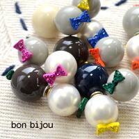 bonbijou(ボンビジュー)リボンピーナッツピアス