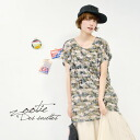 The short sleeves T-shirt which is the adult military who directed it by opal processing. The camouflage pattern-style that is refined in a camouflage pattern with spotted translucency ♪ relaxedly heteromorphic cut-and-sew Lady's camouflage ◆ Zootie (zoo
