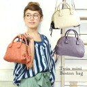 A Boston bag of mini-size having a cute form with the roundness around! A storing power with more than of appearance in two places of storage space of the zipper opening and shutting! Lady's tote bag handbag shoulder bag bag 鞄合皮 ◆ fake leather twin mini-