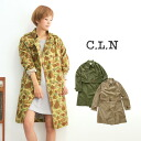 Wrench coat Lady's light overcoat thin outer long sleeves medium spring coat horizontal stripes camouflage handle of camouflage camouflage stripe handle of spring ◆ C.L.N (sea L N) of cotton ダンプト of light, moderate tension: Cotton dump fabric trench coat