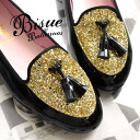 The opera shoes which give a shake at a tassel on lam shiningly. It is use import opera pump lady's ballet shoes-like ぺたんこ pumps real leather flattie mannish traditional fashion low heel ◆ Bisue (biSue) glitter opera shoes in a fascinating enamel material