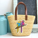 Drawstring purse fake leather basket bag basket bag basket ◆ twin parrot emblem straw basket bag with the cloth in a basket tote bag bag bag bag Lady's miscellaneous goods tote bag bird bird adding the accent with the sense of fun with the embroidery emb