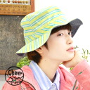 The natural hat which strongly adds a sense of the seasons and brightness to coordinates! 150937 100-percent-cotton hat Lady's miscellaneous goods accessory capeline blind ultraviolet rays measures HAT neon horizontal stripe HAT ◆ cheer (cheer) which I e