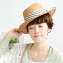The stripe pattern りぼんの raffia hat which lets you feel some nostalgic さを. It is blind ultraviolet rays measures HAT ◆ stripe ribbon raffia pork pie in the feeling drifting pork hat RAFFIA hat miscellaneous goods accessory capeline straw hat style spring