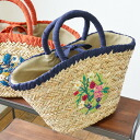 It is embroidery flower ◆ bloom embroidery sea glass basket bag in the spring and summer when basket bag nature material basket bag bag bag BAG handbag bag lady of the natural sea glass material which a flower motif was drawn by embroidery is pretty
