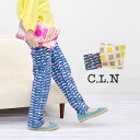 A pop pattern is designed by a natural cotton hemp material. Relaxation underwear lady's full-length pants bottoms pattern underwear long underwear straight underwear canvas ◆ C.L.N (sea L N) to be able to wear relaxedly in the spring and summer: Pattern