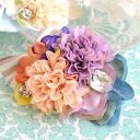"It is a bijou on ribbon to an artificial flower shiningly. The badge such as the bouquet that on nanoco-の ""chance"" was jam-packed. A rotary stop tab. ピンバッジバッヂフラワーモチーフ woman miscellaneous goods accessory badge ◆ dress flower broach"
