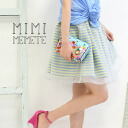 Tutu skirt ♪ where pop horizontal stripes are transparent is characterized by a voluminous feel only by the organdy of moderate tension! Miniskirt Lady's mini-length shortstop length skirt flared skirt ◆ MIMIMEMETE (ミミメメット): Organdy X horizontal stripe g