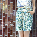 A resort feeling is plentiful! Short pants with tuck which the large waste flowers of the picture in watercolors touch were drawn on. Half straight silhouette ◎ Lady's pants bun key point Tani Cal ◆ water flower pre-Perak tuck short pants to be able to w