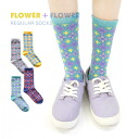 The middle length socks socks Lady's length womens miscellaneous goods accessory footwear crew sock ◆ retro kitsch flower regular socks that it is slightly nostalgic and grows crew sock ♪ where pop floral design displays footwear, and 履 いてもくしゅくしゅさせても is
