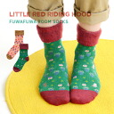 Little Red Ridinghood pattern socks of the inside がほっこり back raising. Was stable at distinguished elasticity; wear; feeling woman socks footwear footware Lady's crew length middle length knit ◆ red cowl back raising crew sock