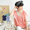 Big ruffle sleeve and sides adorn boldly, adult cute blouse. Yuremasu sweet airy material is transparent ♪ short sleeve solid color tops women's flare sleeves Butterfly sleeves ◆ ☆ events during ☆ chiffonjosettraffle pullover blouse