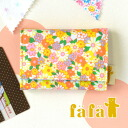 Pocket multicast with original fabric, dirt and water strong laminate coating. To put business cards please ◎ card put the card case wristlet YELLOW 6443-0006 ◆ fafa ( fe'ee ) :LYNSEY laminated card case [Cosmos flower/yellow]
