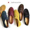 The shoelace design which is a girly in delicateness. Round tiptoe and real leather ぺたんこ shoes of the race up which enjoy prettiness. Dancing shoe jazz shoes ◆ MIMIMEMETE (ミミメメット) made in lady's opera pump Japan: Suede leather round toe flat race up shoes
