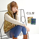 Is available from a camouflage pattern and checked pattern; batting is the best plumply. Design no sleeve outer down vest-like lady's camouflage pattern ◆ C.L.N (sea L N) with the food which is warm to a neck well in the fall and winter: Cotton dump fabr